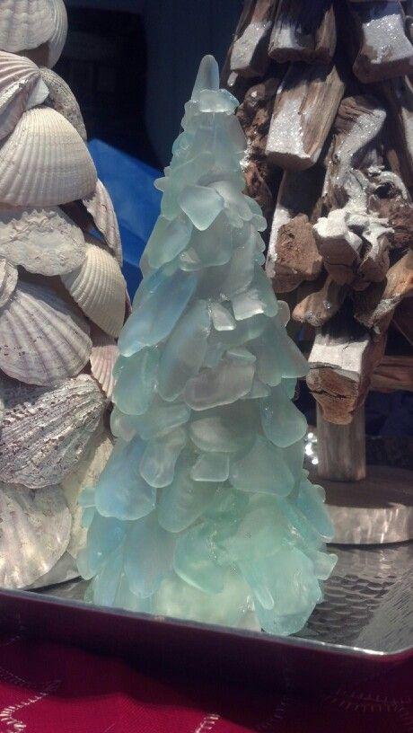 Sea glass Christmas Tree - sea glass - hot glue - cardboard cone