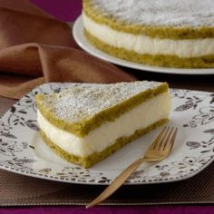 semolina and pistachio dessert with ashta cream filling