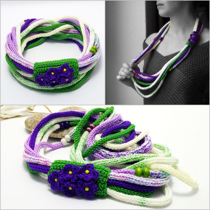 long #knitted #scarf #necklace with #flowers in #green #white and #purple colors