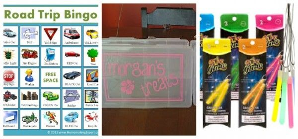 Road trip bingo, special treat boxes, and glow sticks for nighttime car rides.