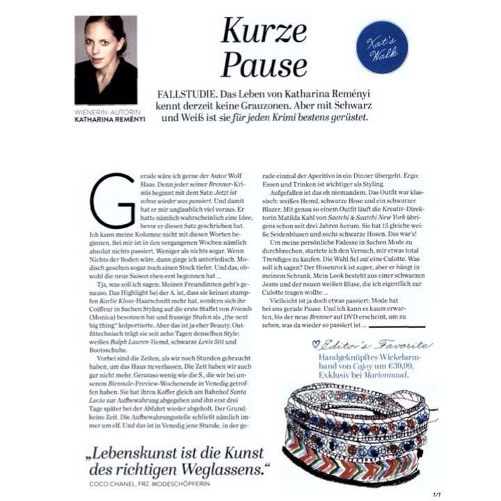 Editor's Favorite in der WIENERIN ein Wickelarmband von CAJOY ❤️❤️❤️ www.cajoy.com #cajoy #wienerin #katharinareményi #wickelarmband #editorsfavorite #wrapbracelet #presse #austrianblogger #fashion #accessory