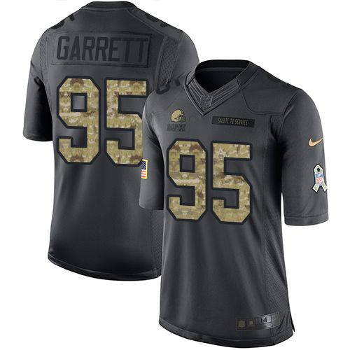Men's Cleveland Browns Nike #95 Myles Garrett Black Limited NFL 2016 Salute To Service Jersey-24714