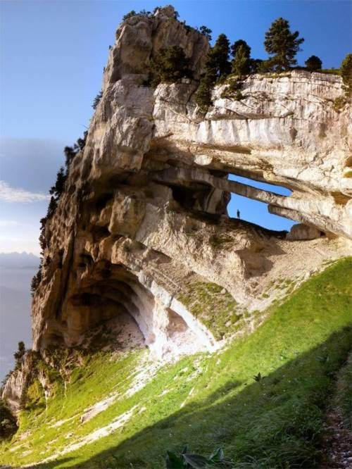 Double Arch at Massif de la Chartreuse, France Drop-Off, Chartreuse, Nature, Rocks Formations, France, Swiss Alps, Travel, Places, French Alps