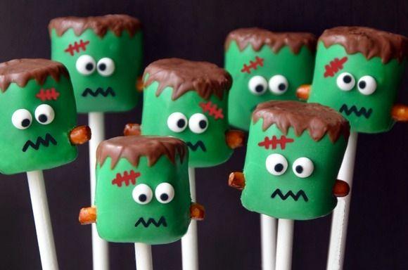 Recetas para halloween - Cómo hacer cake pops - Cake pops originales - Recetas de Halloween - Frankenstein paso a paso - Cupcake pops - Mini cupcakes