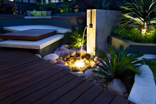 side garden at night