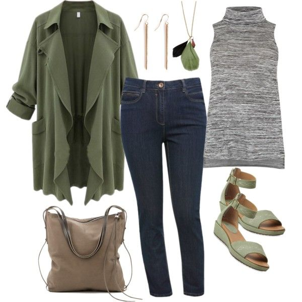 A fashion look from March 2015 featuring dark grey tank top, womens plus coats and plus size straight leg jeans. Browse and shop related looks.