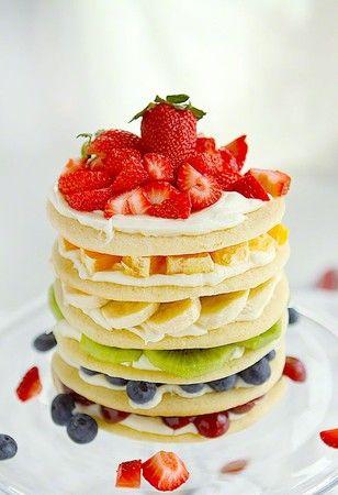 Layered Rainbow of Colorful Fruits Cake   Sumally (サマリー)