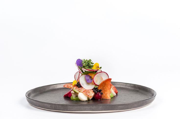 Voorgerecht: Kreeft, salade met gemarineerde groente van de koude grond en paddenstoelen Restaurant de Bokkedoorns ** Overveen