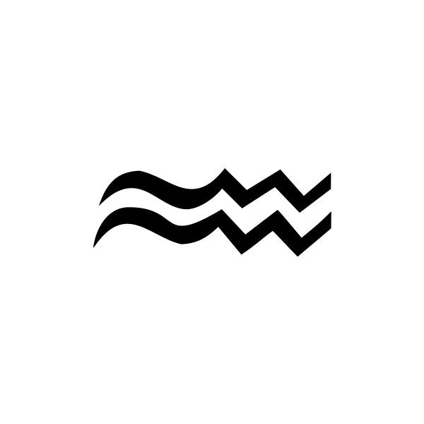 zodiac symbol Aquarius BW - public domain clip art image @... ❤ liked on Polyvore