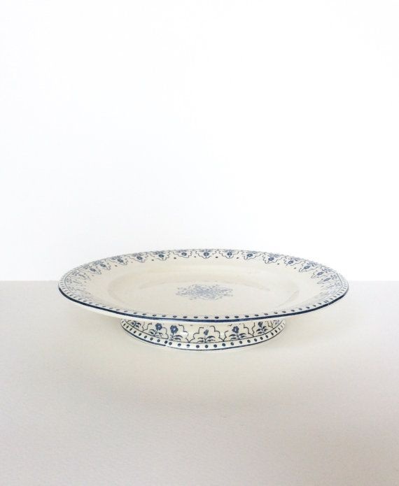 Ironstone. Antique Blue Transferware. Cake by SouthofFranceFinds