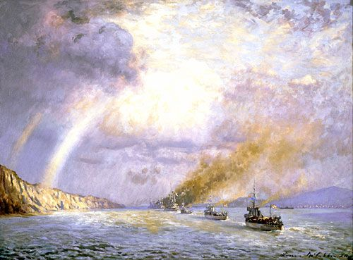 Painting by Louis McCubbin entitled, RAN tribute to Anzac dead, Dardanelles, 12th November 1918. [AWM ART09451]  On 30 October 1918 the Ottoman Empire requested an armistice. For Turkey the war was over. On 10 November British troops landed unopposed on the Gallipoli peninsula. Henry Collinson Owen, A British journalist, recorded what he saw in the Dardanelles which had been the scene of so much naval action in 1914 and 1915: