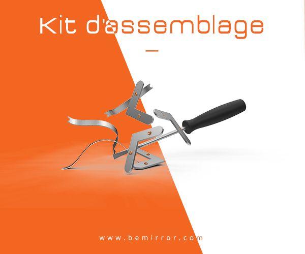 Nous vous donnons l'essentiel du kit d'assemblage de nos cadres BeMirror. Ce kit complet comprend 4 équerres de fixation, 8 ressorts et un tournevis.