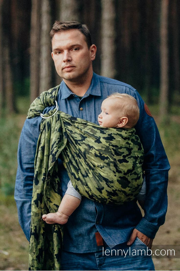 RINGSLING, JACQUARD WEAVE (100% COTTON) - WITH GATHERED SHOULDER - GREEN CAMO, BABYWEARING