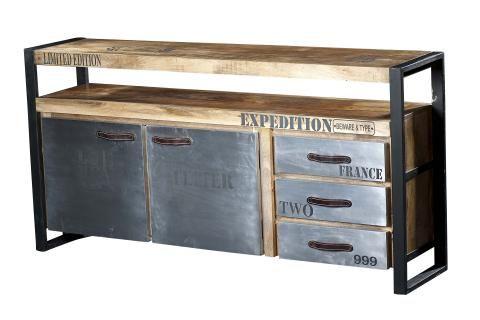 Bahut bois & métal - Craquez pour ce bahut au style industriel qui allie avec goût le bois et le métal pour un résultat 100% tendance !