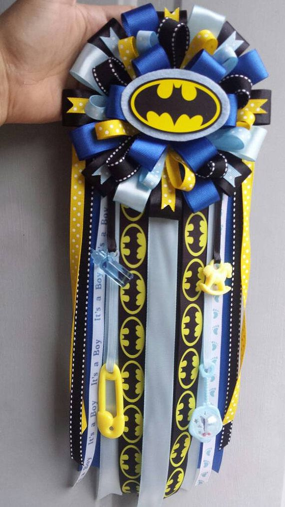 Batman Baby Shower Corsage with Superman by ModernMumsCollection