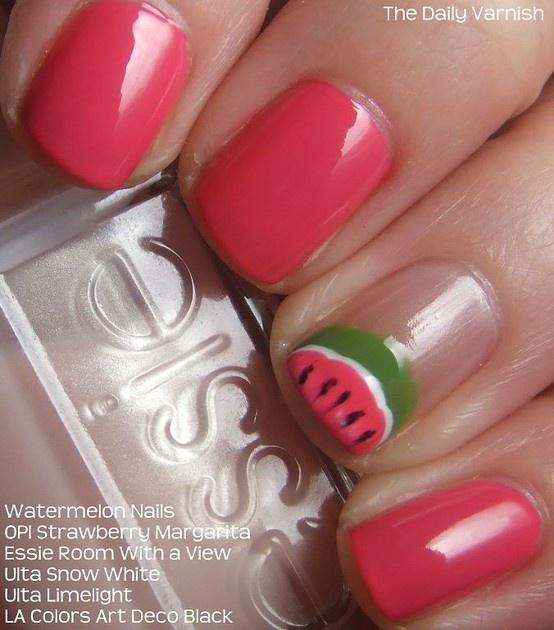 Watermelon Nail Art, done!