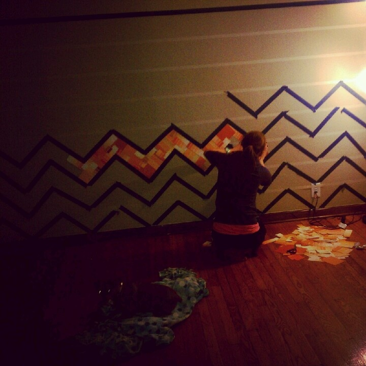 chevron paint chip wall