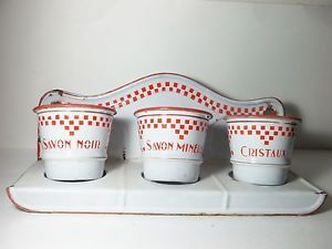 Charming-Vintage-French-Enamelware-Enamel-Graniteware-4-Piece-Soap-Pot-Set