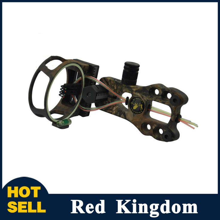 """New 4 pin Compound Bow Sight with LED Sight Light 0.019"""" Fiber Brass Pin CNC Machined for Compound Bow Hunting Shooting"""