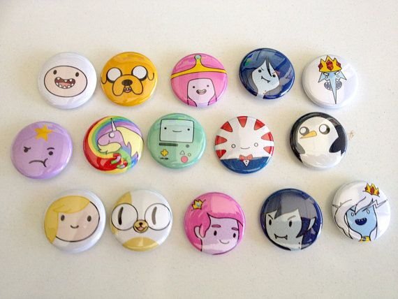 Adventure Time 1 button pin set by Rosewine on Etsy