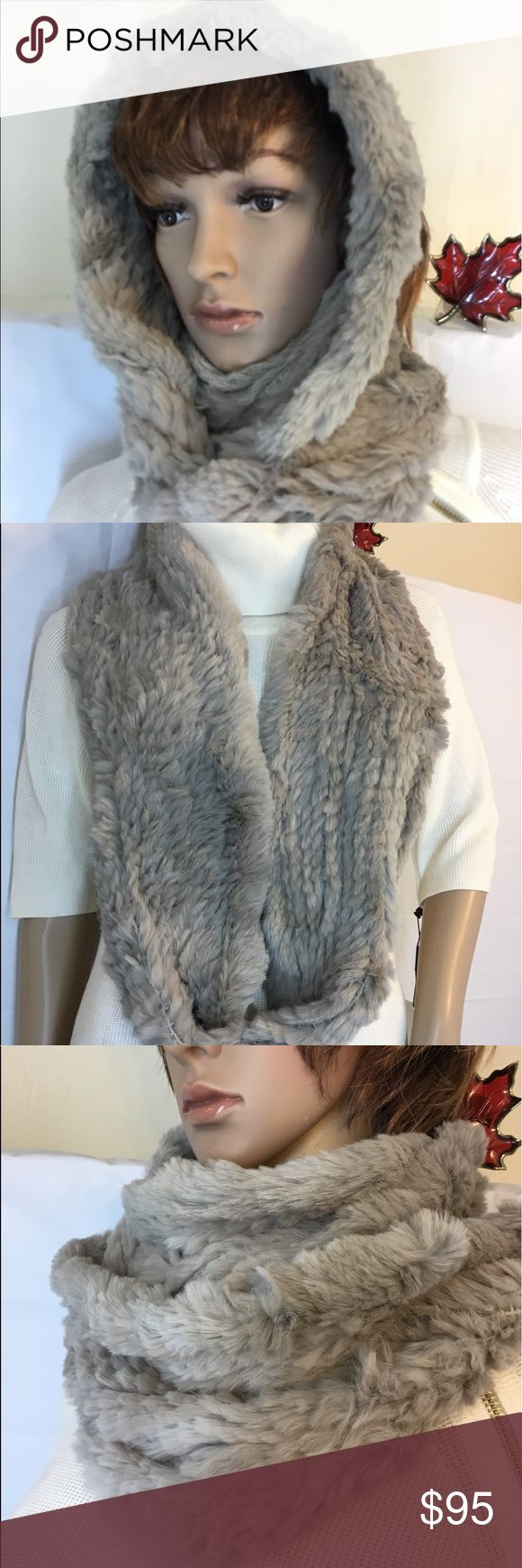 Adrienne Landau Real Fur Cowl-Scarf And Hoodie OS Perfect accessories for any ou…