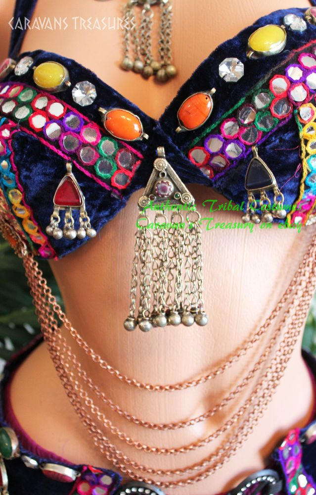 Midnight Blue Nawaar Belly Dance Bra Belt SET Gold Trim Tribal, Gothic in Belly Dancing | eBay