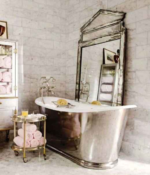 Want that bathtub.: Bathroom Inspiration, Vintage Bathroom, Antiques Mirror, Large Mirror, Glamorous Bathroom, Bathroom Decor, Funky Bathroom, Silver Bathroom, Large Antiques
