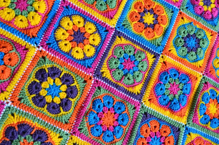 Knotty Knotty Crochet Bright Flower Afghan Free Pattern