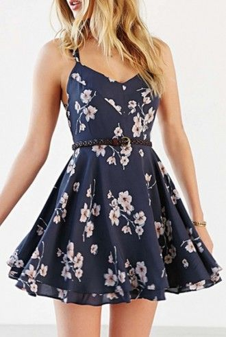 vestir de verano azul beautifulhalo flores azul marino del resorte femenino de…