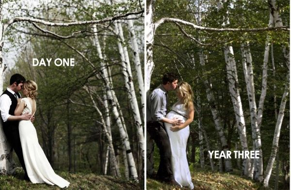 This couple returned to the spot where their wedding photos were taken to capture another milestone.  Love the idea