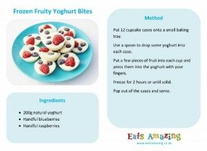 Frozen Fruity Yoghurt Bites - Easy recipe for kids with free printable recipe sheet from Eats Amazing UK