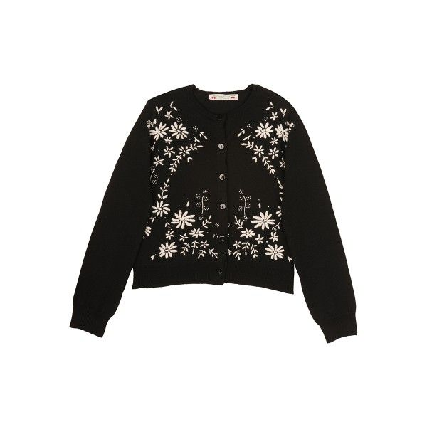 Hand-Embroidered Cardigan Black