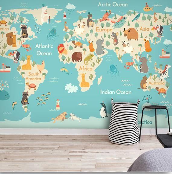 World Map Cartoon Animals Kids Nursery Wallpaper Wall Mural Hand
