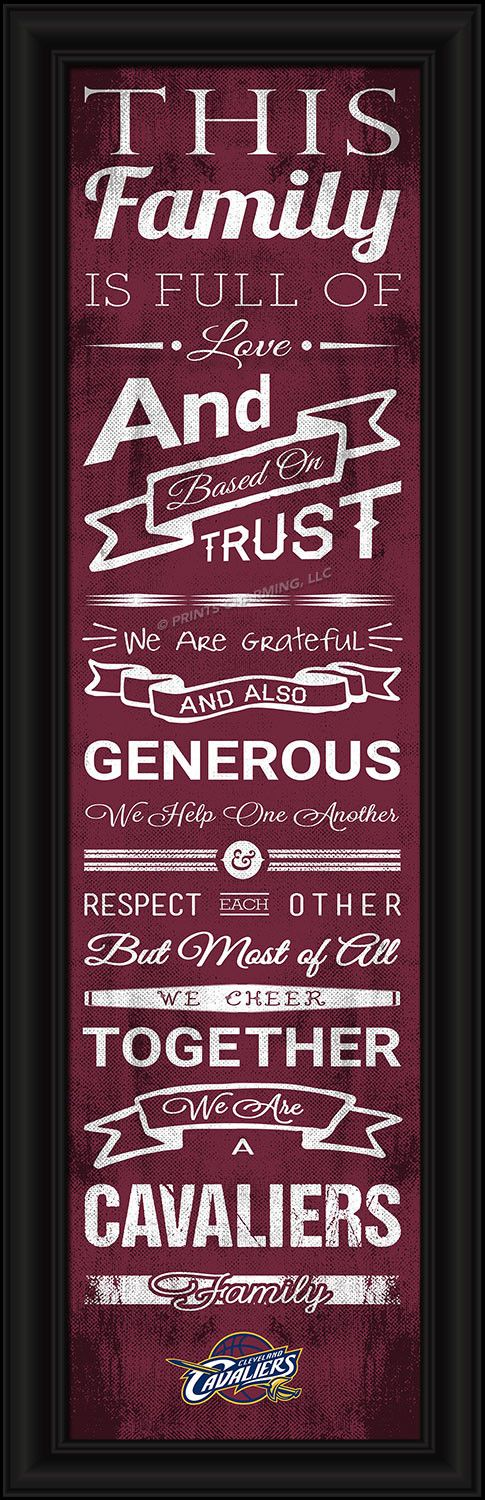 Let family and friends know that in your house you cheer for the Cavs. This Officially Licensed full-color print features an inspiring message and lets everyone know your family is a diehard Cavs Fami