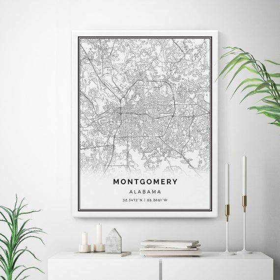 Montgomery Map Canvas Print City Maps Wall Art Alabama Gift Etsy Map Wall Art Map Canvas Print Map Canvas