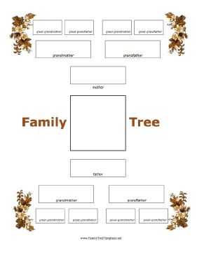 This four-generation family tree template is framed by autumn leaves ...