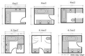 Les salles de bains de taille moyenne (4-5-6 m²)   Studio d'archi
