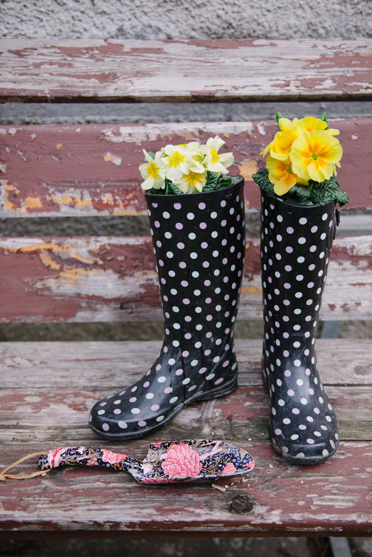 If your Wellies have sprung a leak, give 'em new life. The owner poked some more holes to create extra drainage before adding soil and primroses. Get the tutorial at Kittenhood » RELATED: 5 Cute Rain Boots Make Even Cuter Planters  - GoodHousekeeping.com