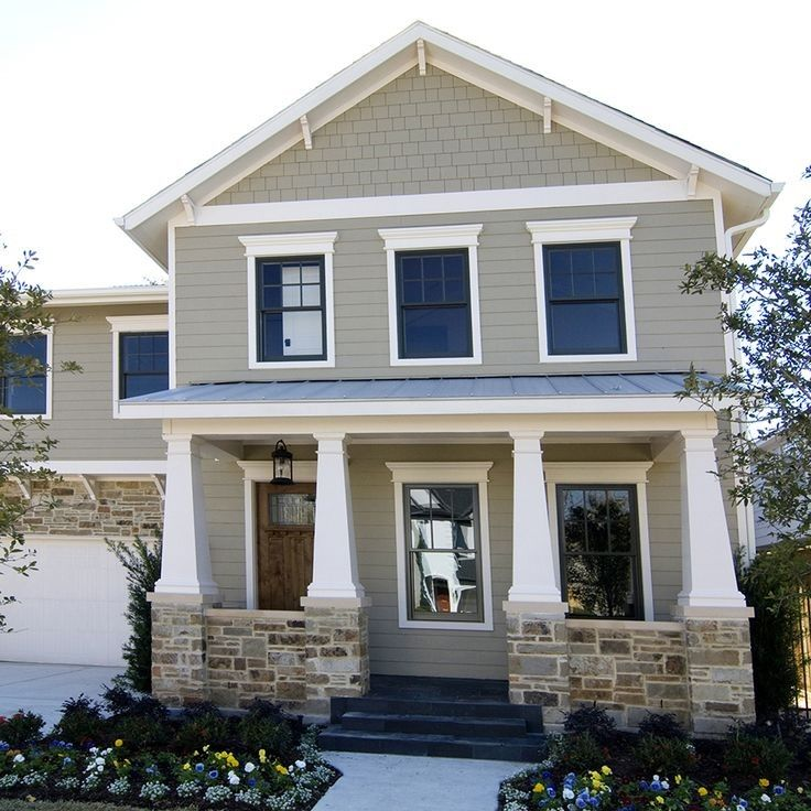 Pearl Gray Hardie Plank With Stone Exterior House Colors