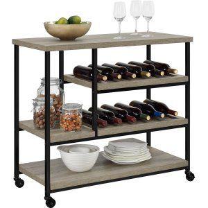 Altra Furniture Altra Williams Kitchen Cart - Black/Old Fashioned Pine - Kitchen Islands and Carts at Hayneedle