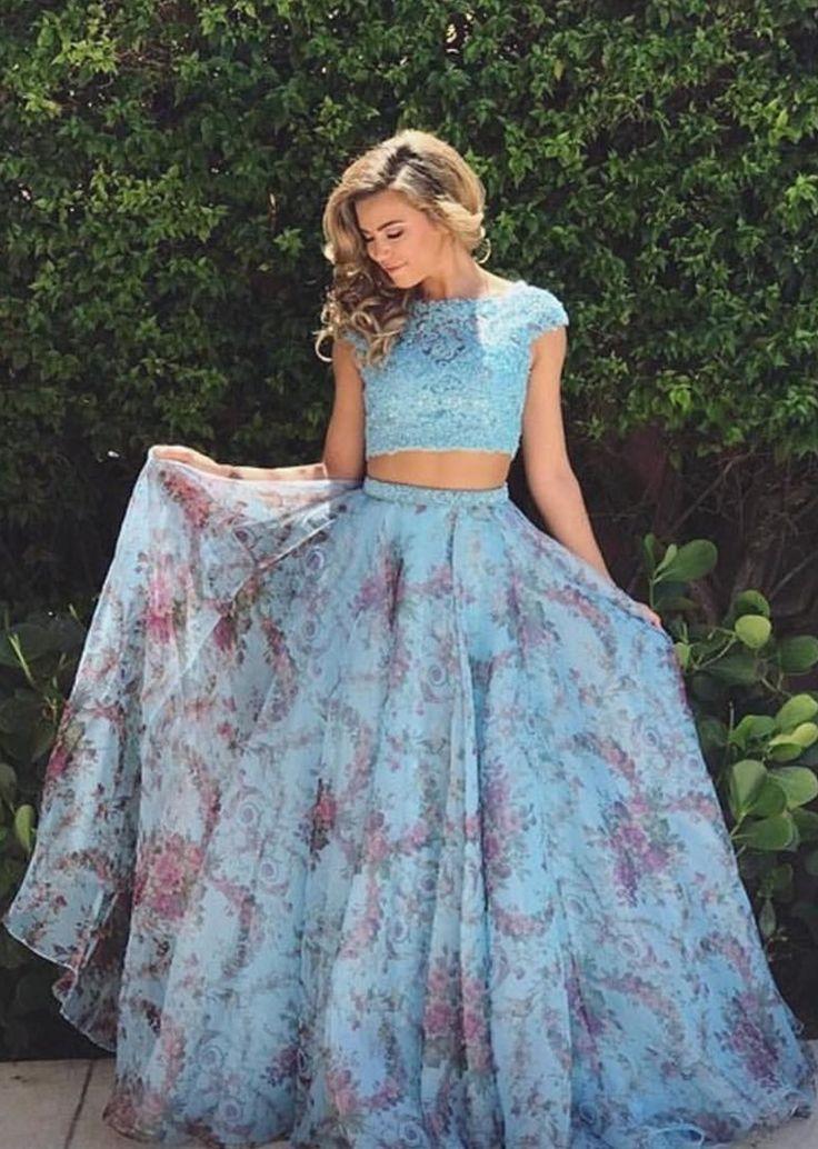 elegant two piece light blue chiffon prom dress with lace, fashion bateau 2 piece light blue floral chiffon party dress with beading
