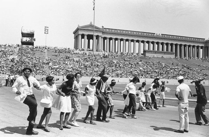 Freedom Rally at Soldier  Field 1966 Photo by Judith  Bromely/James Iska  Chicago Park District.  A crowd of more than 35,000 gathered at Soldier Field on July 10 for the Freedom Rally.  Dr. King spoke at the rally, and there were performances by Stevie Wonder, Mahalia Jackson, and other celebrities.  Source: Chicago Public Library https://www.chicagoparkdistrict.com/about-us/history/