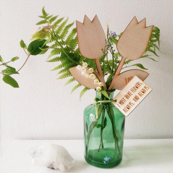 Gift of Flowers - In Your Own Word Wooden Bunch of Tulips - Everlasting Flowers - Personalised Gift for Her - Gift for Mum