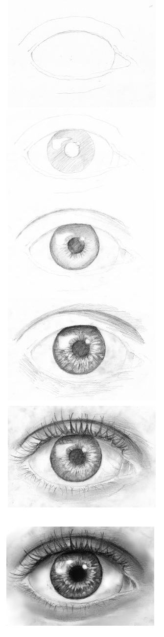 Draw eyes step by step