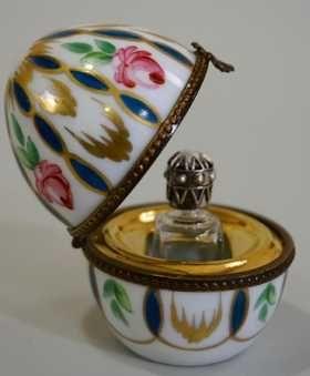 Limoges Porcelain France Egg Box Perfume Bottle Casket