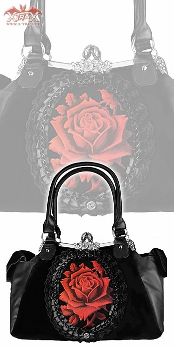 Handbag 'Red Gothic Rose', I want either this one or the one with the ribcage :D