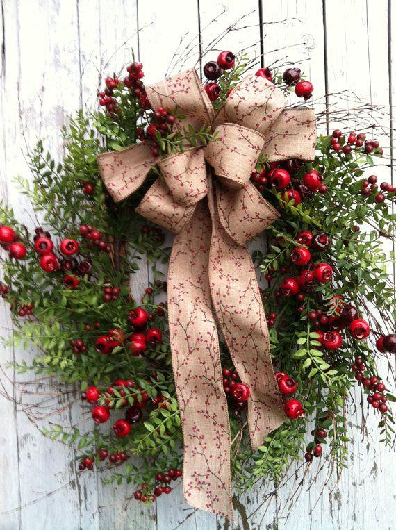 Country Christmas Wreath - Berry Wreath for Door ...