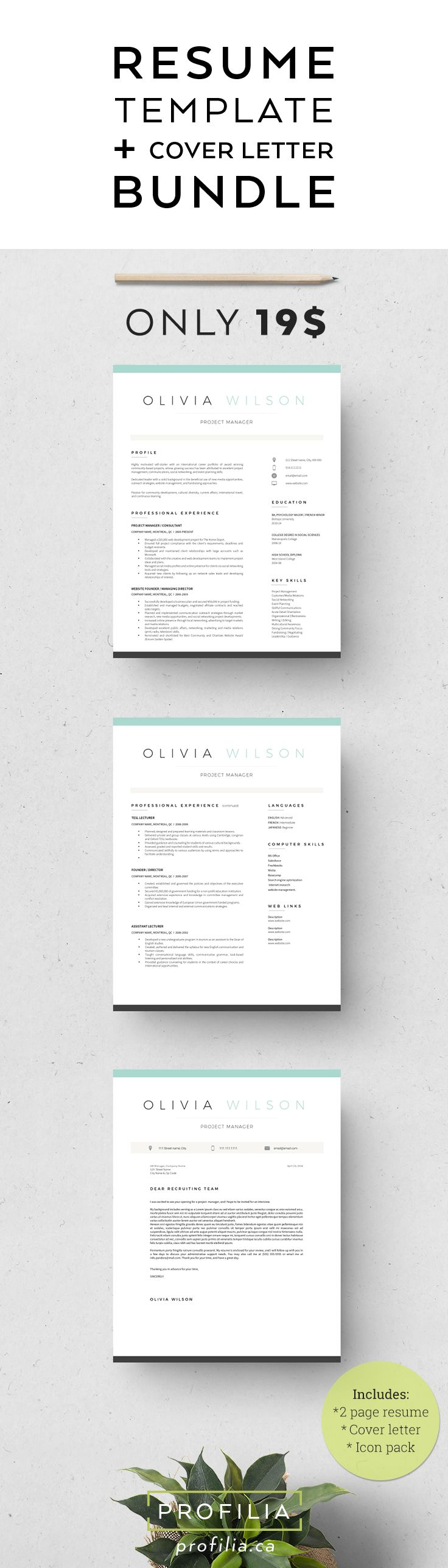17 best images about resume design cover modern resume cover letter template editable word format