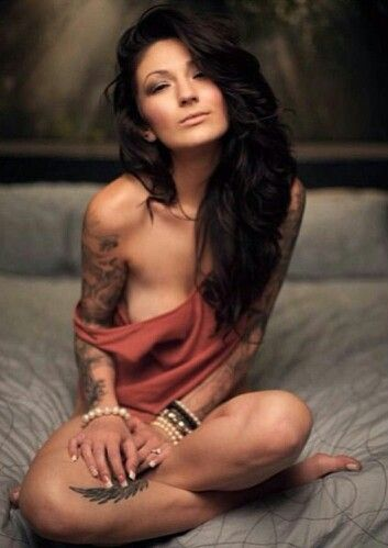 Beautiful tattoos, bedroom photoshoot