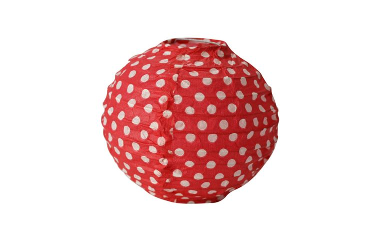 Pack of 6 Mini Red with White Polka-dot Lanterns - Included in our Standard $99.00 and Deluxe $159 packs - Strawberry-fizz.com.au